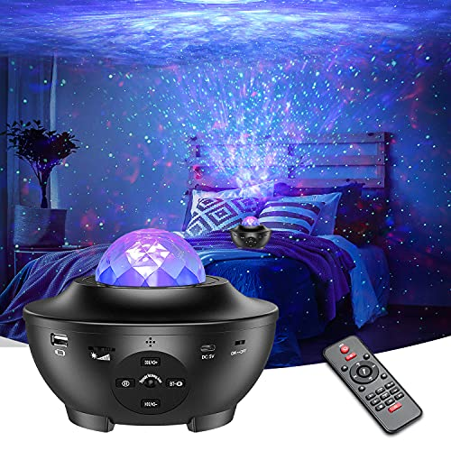 LED Sternenhimmel Projektor Hiluckey Rotierendes WasserwellenproJektorlicht mit LED-Nebelwolke, Fernbedienung, Bluetooth, Timer, Eingebautem Musikspieler Galaxy Light für Kinder Zimmer Party