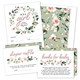 Set of 25 Floral Wreath Baby Shower Invitations, Diaper Raffle Tickets and Baby Shower Book Request Cards with Envelopes | It's a Girl Blush Pink Boho Fill-in Invites for Baby Shower (25)