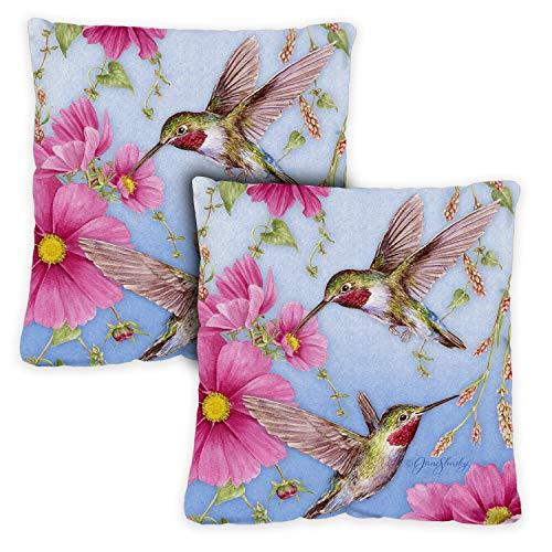 Toland Home Garden 721212 colibríes con rosa 2 unidades 18 x 18 pulgadas, almohada para interior/exterior con inserto