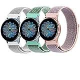 ZGCE 3 Pack Armband Kompatibel mit Samsung Galaxy Watch Active 2 40mm 44mm und Galaxy Watch Active und Galaxy Watch 3 41mm und Galaxy Watch 42mm, 20mm Nylon Loop Schnellwechsel Uhrenarmband
