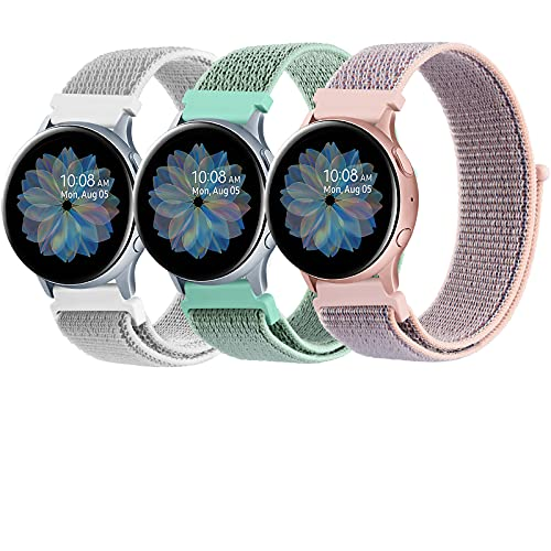 ZGCE 3 Pack Armband Kompatibel mit Samsung Galaxy Watch Active 2 40mm 44mm & Galaxy Watch Active & Galaxy Watch 3 41mm & Galaxy Watch 42mm, 20mm Nylon Loop Schnellwechsel Uhrenarmband