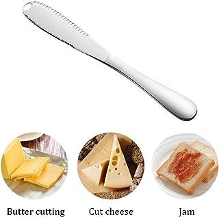 Cuchillo 3 en 1 de acero inoxidable para untar mantequilla, cortador de queso profesional, cuchillo rizador de mantequilla con borde serrado y agujeros, cómodo divisor para queso, filete y crema.