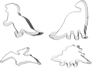 4 Dinosaur Shaped Cookie Cutters – Stainless Steel Dino Shape Molds – T Rex Brontosaurus Pterodactyl Stegosaurus Shapes – Gift box set by Jolly Jon