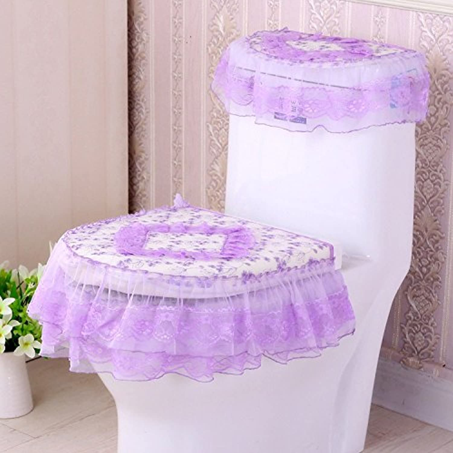 MKSFY Toilet Seat Cover 3-Piece Lace Fabric Zipper Waterproof Trumpet To Increase Cute Autumn And Winter Thickening, Green