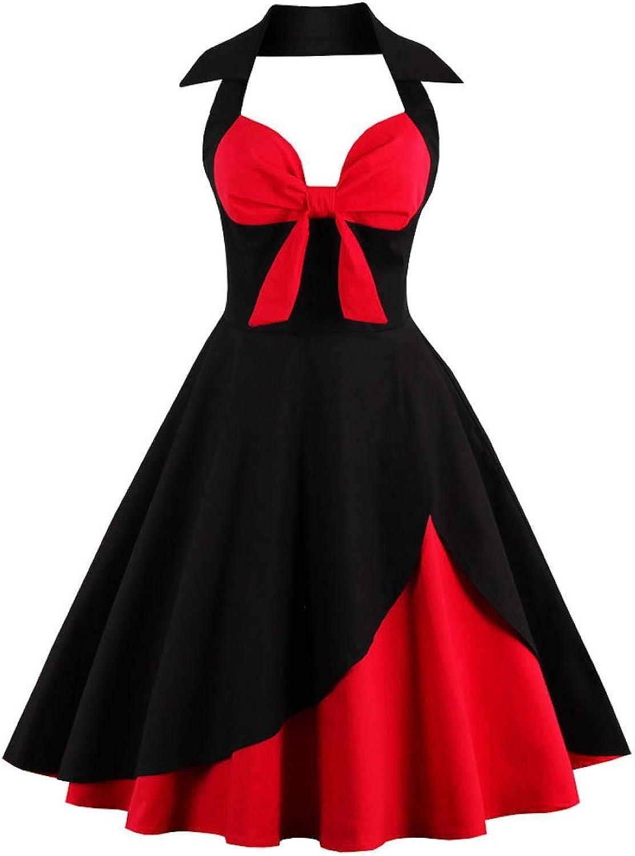 Ayli Women's Halter Sleeveless 1950s Retro Cake Layer Style Hollywood Midi Swing Dress