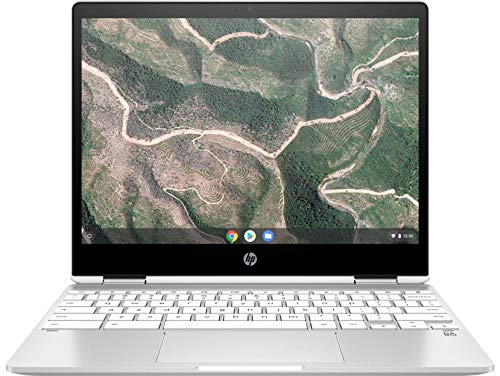 HP Chromebook x360 12b-ca0005nf Ordinateur Ultraportable Convertible et Tactile 12'' HD IPS Blanc (Intel Celeron, RAM 4 Go, eMMC 32 Go, AZERTY, Chrome OS)