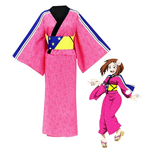 GGOODD Conjunto De Bata De Kimono Lindo Rojo Ciruela para Mujer Disfraz Tradicional Japons Anime My Hero Academia OCHAKO URARAKA Cosplay,XXL