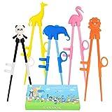 LANMOK 5 Paare Kinder Training Essstäbchen, Japanische Besteck Set Tiere Lernen Stäbchen für Erwachsene Anfänger Kinder Senioren Chopsticks- Panda Flamingo Giraffe Elefant (5 Paare Essstäbchen)