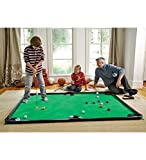 HearthSong Golf Pool Indoor Family Game Kids Toy Carbon Fiber 78'Lx57'W Includes Golf Clubs, 16 Balls, Green Mat, Rails
