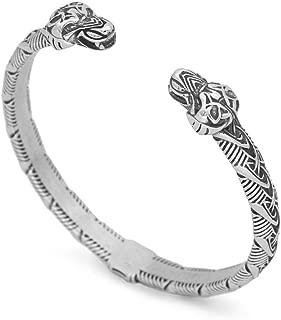 GuoShuang Viking Men Odin Wolf Geri and Freki Amulet Bracelet -Stainless Steel with Valknut Gift Bag