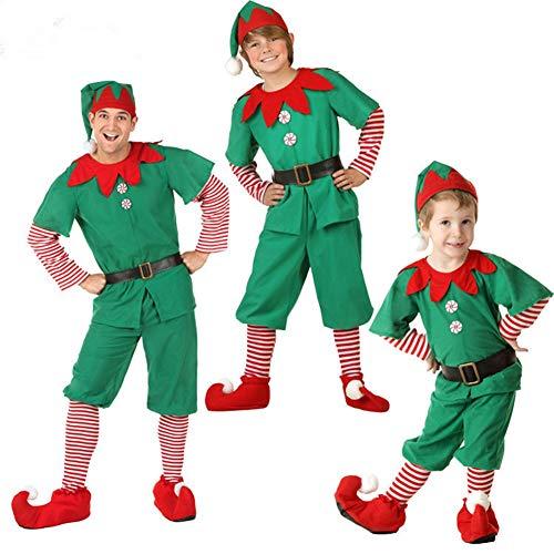 Niño Regalo Cosplay Bebe Disfraz Infantil para Navidad Unisex Niños Dsifraces de Elfo Vestido Top Blusa Sombrero Disfraz de Santo Equipo del Duende 2-16 Años Disfraz de Elfo Unisexo Adultos male-90cm