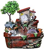 Escultura,Fuente De Escritorio Fuente De Rocalla De Resina Adornos Y Humidificador Decoración del Hogar Paisaje Acuático Interior Micropaisaje para La Decoración De La Mesa De La Oficina En El Hoga