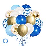 Royal Blue Gold Confetti Balloons, 60 Pack 12...