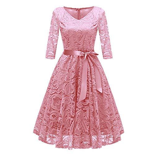 Vestido de mujer de color sólido encaje cóctel fiesta swing vestido de señoras