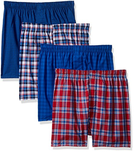 Hanes Men's 4-Pack ComfortBlend Woven Boxers with FreshIQ, Assorted, Medium