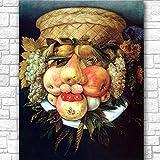ZNNHEROCabeza con Canasta De Frutas Arcimboldo Póster Impreso Lienzo Pintura Cuadro De Arte De Pared para Sala De Estar Decoración del Hogar-60X80Cmx1 Sin Marco
