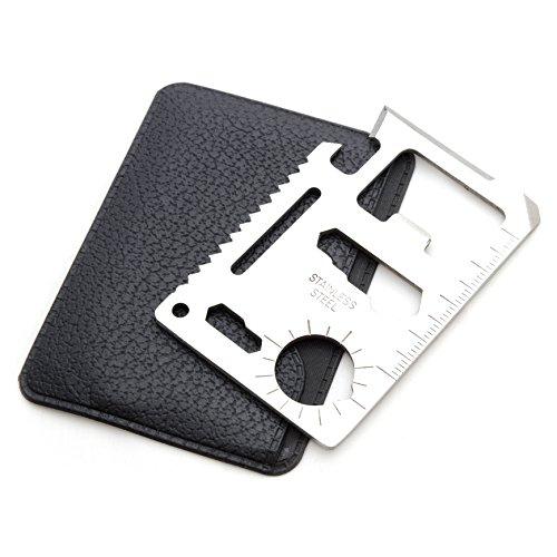 Ganzoo Outil de survie multifonction au format carte de crédit, pour une utilisation en extérieur: couteaux, scie, décapsuleur, etc.