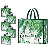 NymphFable 5 Pack Reusable Shopping Bags Palm Tree Leaves Green Washable Grocery Bags Fabric Tote Bag