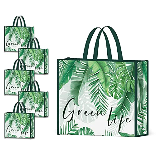 NymphFable 5 Pezzi Tote Bag Riutilizzabili Foglie di Palma Sacchetti Spesa Grande Borsa Spesa