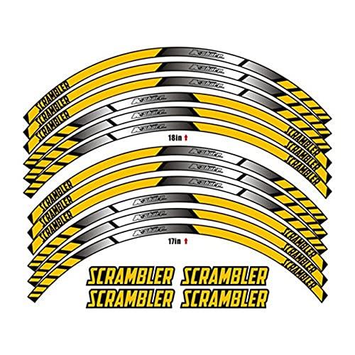 Pegatinas de llanta reflectantes de color Pegatinas de hub de ruedas Pegatinas de anillo de acero Adecuado para Ducati Scrambler (Color : 240369)
