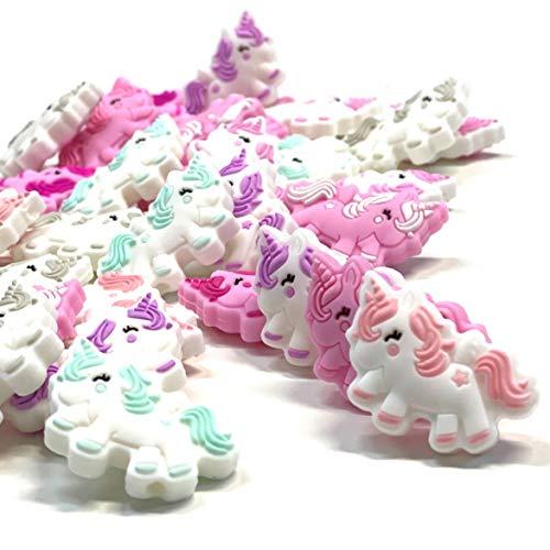 BABY J ART perle, palline dentizione, scelta figure in silicone materiale fai da te per portaciuccio, massaggiagengive e dentizione, 10 pz (Unicorno)