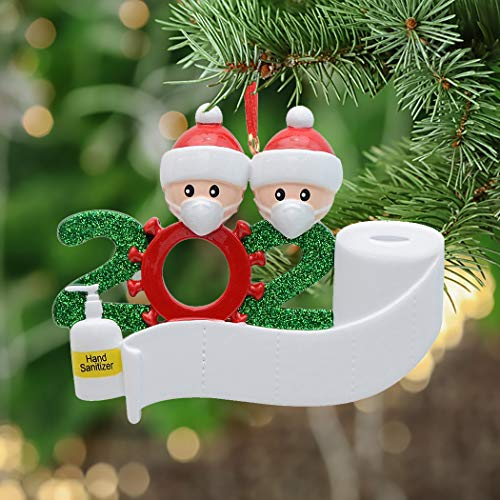 MAXORA Personalized Quarantine Family 2020 Christmas Ornament Family of 2 Gifts for Grandkids...