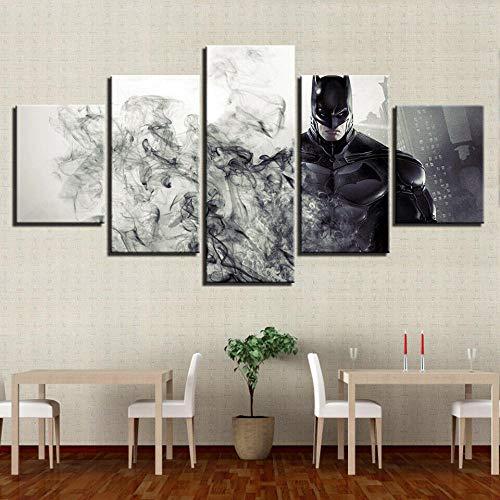 XHJY 5 Piezas Cuadro sobre Lienzo Impresión Cuadros Decoracion Salon Grandes Cuadros para Dormitorios Modernos Mural Pared Listo para Colgar,Batman Caballero Oscuro-200 x 100cm