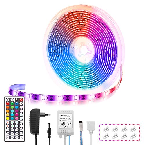 Fulighture LED Streifen,5M LED Streifen,RGB LED Strip mit 150 Stück 5050LEDs und 44-Key Fernbedienung für Zuhause, Schlafzimmer, TV, Schrankdeko,IP65 Wasserdicht,Schnittbar