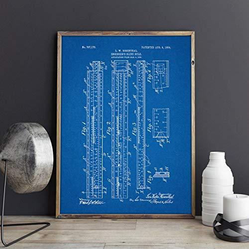 MXIBUN Póster e Impresiones Regla de cálculo del Ingeniero Calculadora de Planos Imágenes de Arte de la Pared Pintura de la Lona Regalo sin Marco 50 * 70 cm