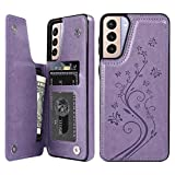 Wallet Case Compatible with Samsung Galaxy S21 5G, Case with Card Holder Embossed Butterfly Premium PU Leather Double Magnetic Buttons Flip Shockproof Kickstand Protective Cover 6.2 inch, Purple