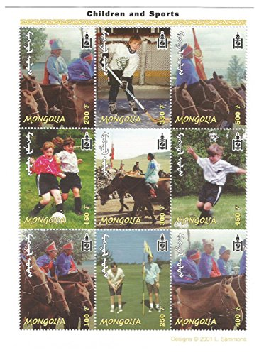 Francobolli da Collezione - 2001 bambini e Sport Calcio Hockey Nuovo foglietto / Mongolia