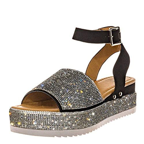Sandalias Mujer Verano Nuevo 2021 Moda Elegante Zapatos de plataforma Cuña Zapatos Diamante brillante Playa Zapatillas Sandalias de Punta Abierta casual Fiesta Roman Tacones Altos Sandalias