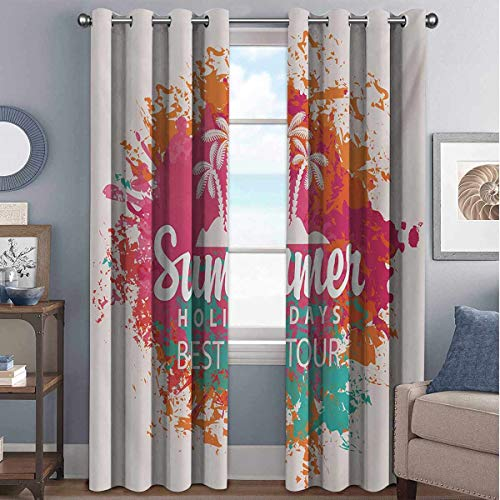 Quote 85%-95% blackout lining curtain Summer Holidays Best Tour Lettering with Palm Tree Island Rainbow Colored Image Print Full shading treatment kitchen insulation curtain W42 x L63 Inch Multicolor