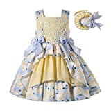Pettigirl Girl Summer Yellow Vintage Easter Ceremony Floral Outfit Toddler Kid Ruffle Cute Party Dresses with Headband