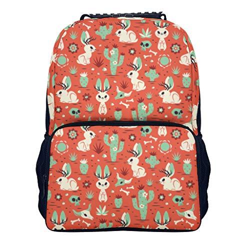 XJJ88 Mini-Rucksack für kleine Kinder, Tiere, Kaninchen, Kaktus, Taro, Pflanze, stylisch, Retro-Stil, wasserfest, Pflanzen-Design, Bedruckt für Radfahren, Reisen, Camping, weiß (Weiß) - XJJ88ce3