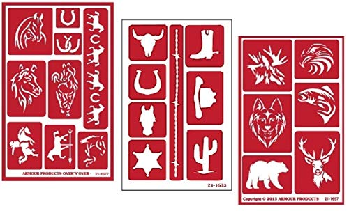 3 Armour Etch Over N Over Reusable Glass Etching Stencils Set | Horse, Western and Wild Animals Theme