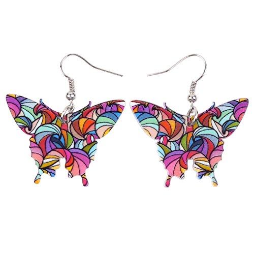 Bonsny Acrylic Drop Dangle BUTTERFLY Earrings Funny Design Lovely Gift For Girl Women Fashion Jewelry