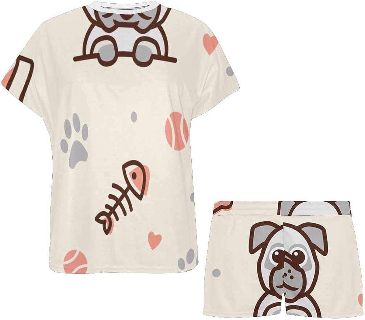 INTERESTPRINT Pug Dog and Cat with Bone Women's Pajama Sets Short Sleeve Shorts - Pajamas for Women