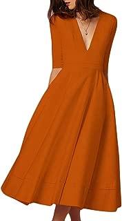 Salimdy Women's Elegant Half Sleeve Deep V Neck Vintage Cocktail A-line Midi Dress