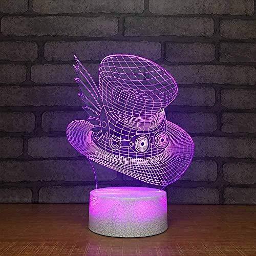 LSDAMN 3D Phantom Light Bedside 7 Farben Ändern Neuheit Cartoon Kreativer Hut Led Visual Kinder Kindertischlampe Dekor Beleuchtung Geschenk-Touch LED Kinder Nachtlicht