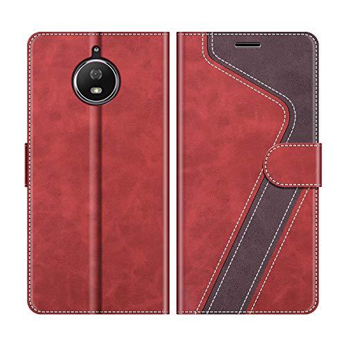 MOBESV Handyhülle für Motorola Moto G5S Hülle Leder, Motorola Moto G5S Klapphülle Handytasche Case für Motorola Moto G5S Handy Hüllen, Modisch Rot