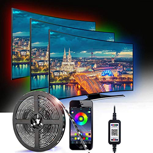 Bluetooth LED Streifen, MCSWSEA 3M(9,84 Fuß) LED TV Hintergrundbeleuchtung mit USB Netzteil, LED Streifen mit App Steuerung, Wasserdichter 5050 RGB LED Lichtstreifen für Lnnen und Außendekoration (3M)