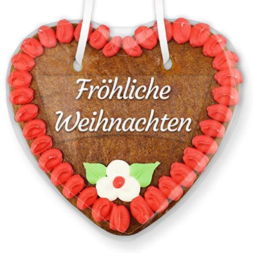 Fröhliche Weihnachten Lebkuchenherz mit Text-Aufkleber und Zuckerdeko - rot - 14cm