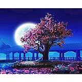 Serie rosa púrpura pintura por números flor para adultos DIY pintura cerezo flor de cerezo camino rosa melocotón árboles A4 60x80cm