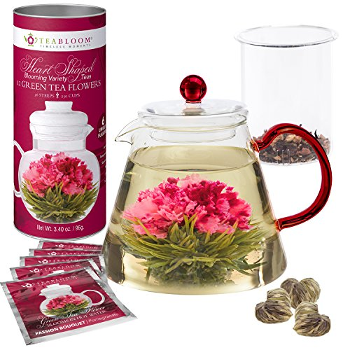 Learn More About Teabloom AMORE Flowering Tea Gift Set - Stovetop Safe Glass Teapot with Removable L...