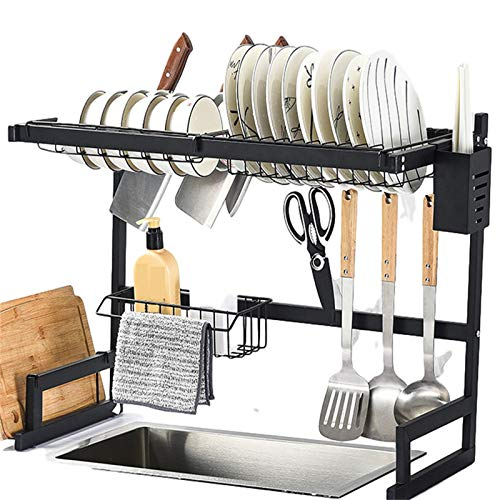 Over Sink Dish Drying Rack, dish racks with cutlery racks, dish drain racks for kitchen counter organizers, save space for supplies (25.6-33.5 inches), black