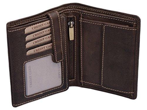 LEAS Kombibörse mit Riegel und Geschenkbox im Vintage-Stil in Echt-Leder, braun