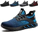 SUADEX Zapatos de Trabajo Hombre de Seguridad Ligeras Mujer Zapatillas de Seguridad Punta de Acero Calzado de Seguridad Deportivo Azul 42EU