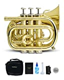 CarolBrass Bb Mini Pocket Trumpet | B-flat Travel Trumpet with Quality Lacquer Finish, Exclusive Mouthpiece, Valve Oil, Gig Case & More | Effortless Playing for Kids and Beginners (CPT-1000-YSS-Bb-L)