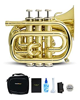 CarolBrass Bb Mini Pocket Trumpet   B-flat Travel Trumpet with Quality Lacquer Finish Exclusive Mouthpiece Valve Oil Gig Case & More   Effortless Playing for Kids and Beginners  CPT-1000-YSS-Bb-L